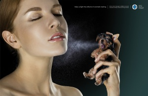 Ad against animal testing from the Society for the Protection of Animals.