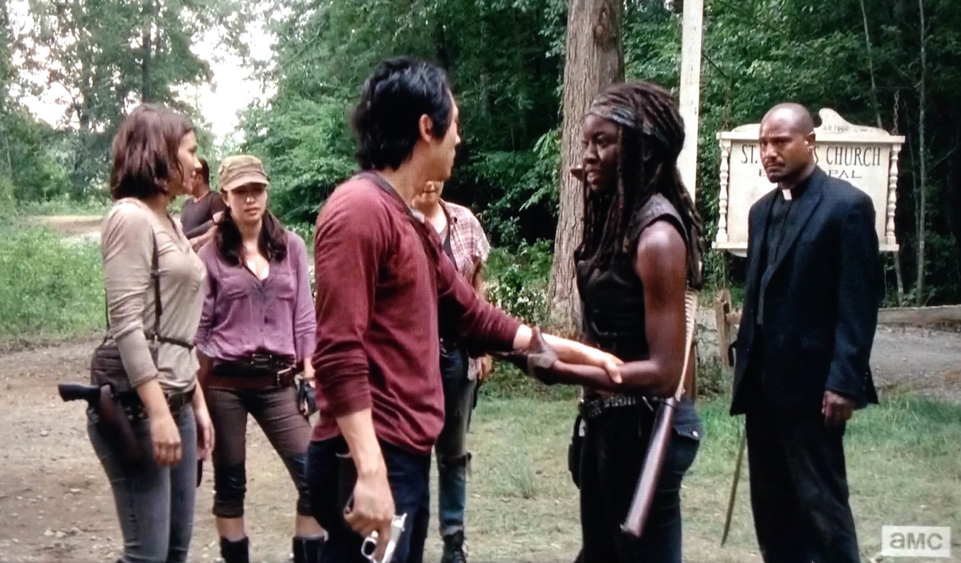 Around As Expected And Gets His Crew Back To The Church Just In Time Keep Walkers From Breaking Out Of They Had Broken Into